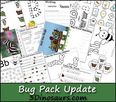 Round Up Of Spring Printables On 3 Dinosaurs 3 Dinosaurs Bugs Preschool Preschool Themes Zoo Preschool