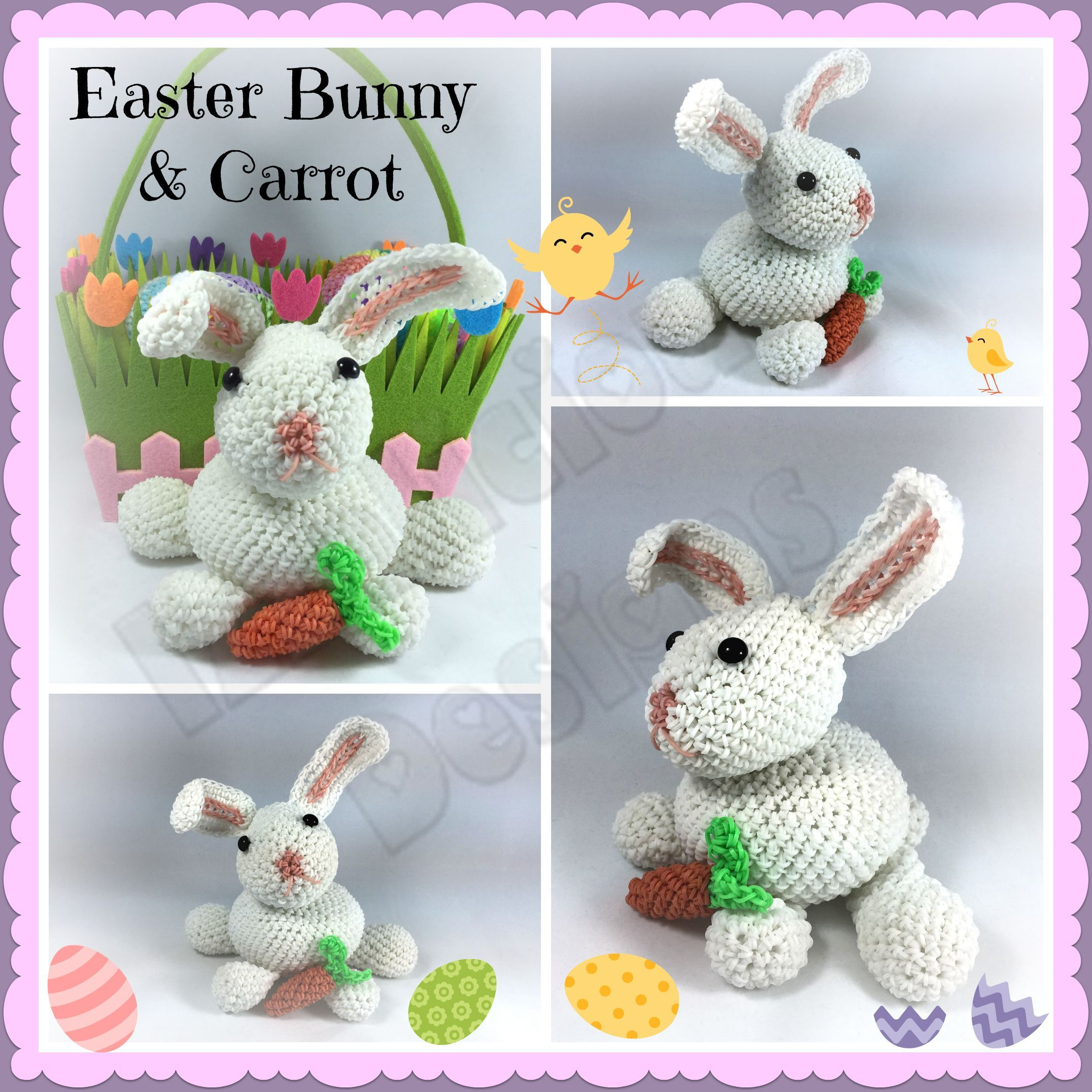 Amigurumi Lalylala : Rainbow Loom - Amigurumi/Loomigurumi 3D Easter Bunny ...