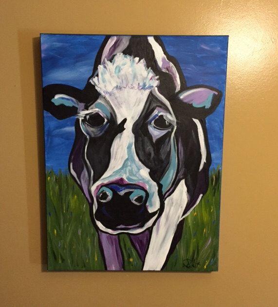 Modern Cow, 24x18 acrylic canvas by Ana Peralta by DecoArtz on Etsy https://www.etsy.com/listing/471153878/modern-cow-24x18-acrylic-canvas-by-ana