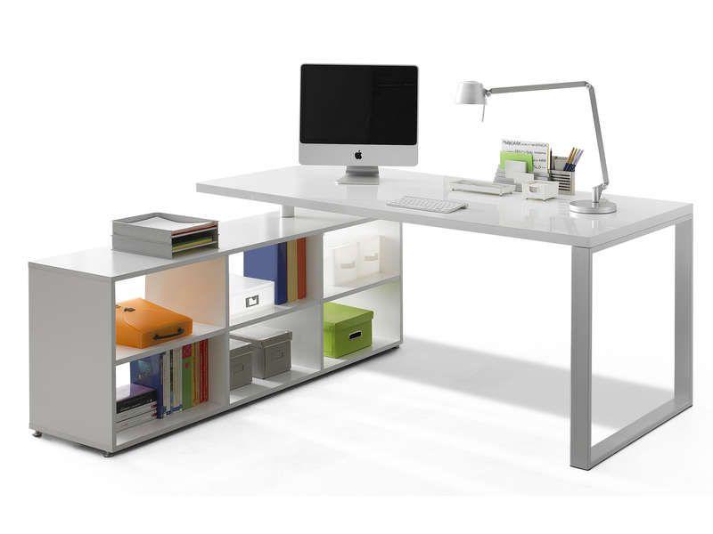 Bureau 180 cm + retour TREVI coloris blanc Bureaus - conforama chaises salle a manger