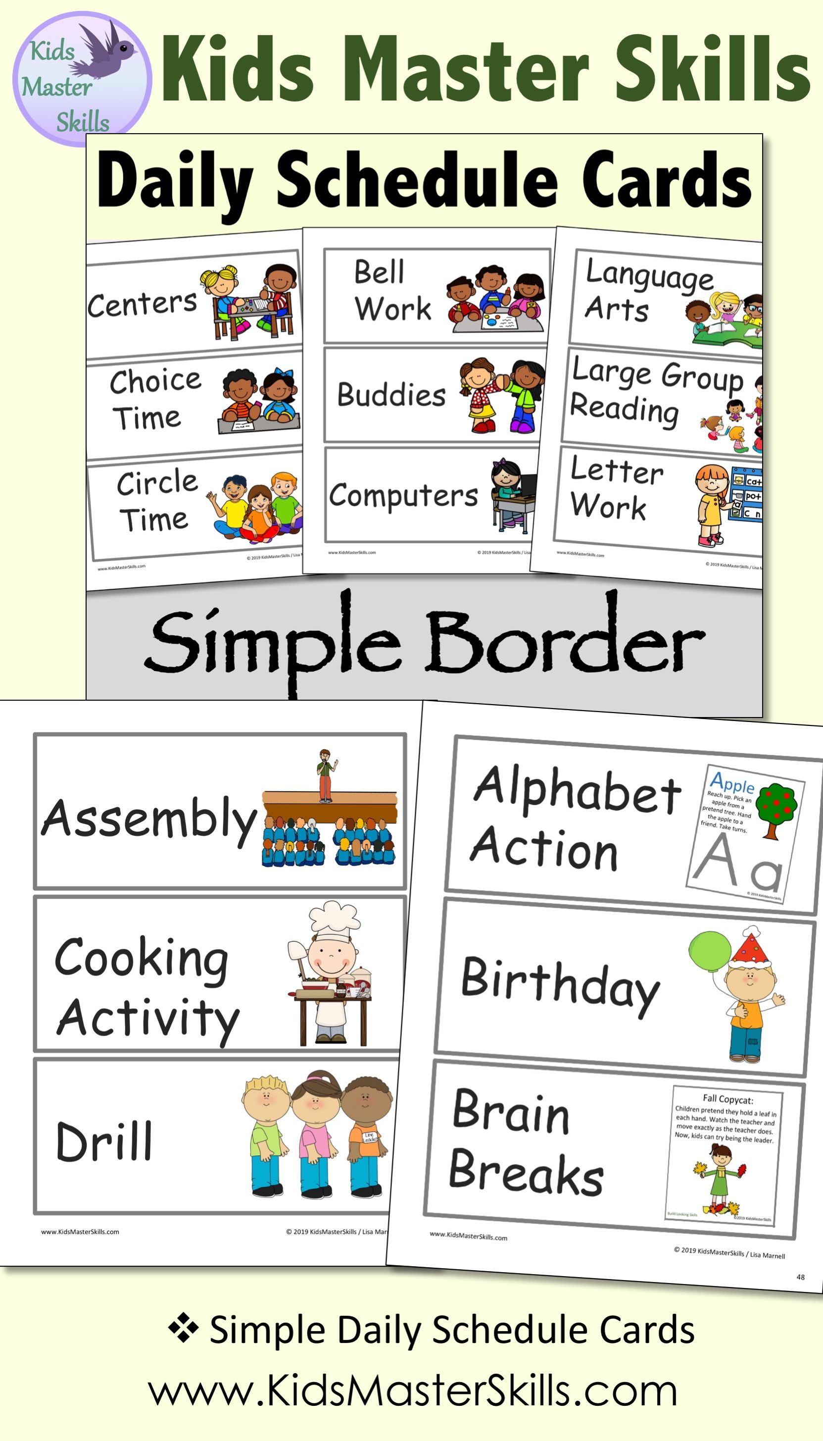 Visual Daily Schedule Cards Simple Border