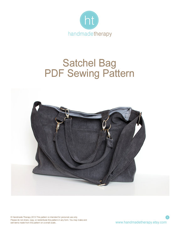 Sewing Pattern. PDF Sewing Pattern - Satchel Bag. Canvas or Cordoruy ...