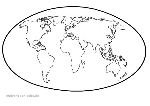 Vorlage Weltkarte   Weltkarte zum ausmalen, Weltkarte und ...