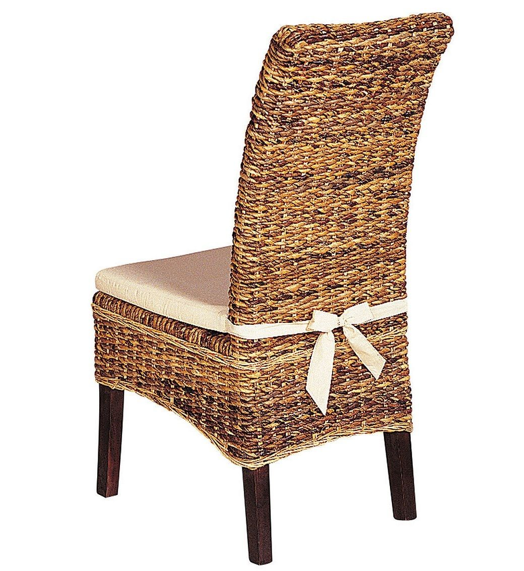 Banana Leaf Woven Side Chair With Cushion. Rattan Dining ...