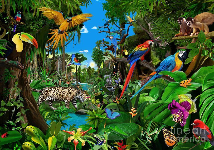 Amazon Sunrise In 2020 Jungle Art Rainforest Animals Jungle Scene