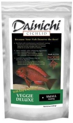 AQUATICS - FISH FOOD/FEEDERS - CICHLID VEGGIE DELUXE SINKING - BABY 2OZ - DAINICHI FISH FOOD - UPC: 713166124014 - DEPT: AQUATIC PRODUCTS