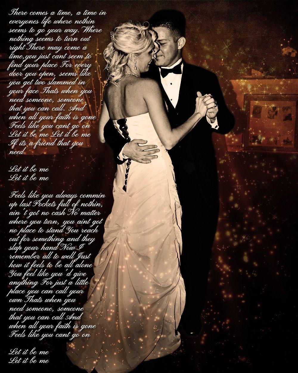 Wedding Photo First Dance Song Lyrics Anniversary Art Custom Editing 35 00 Via