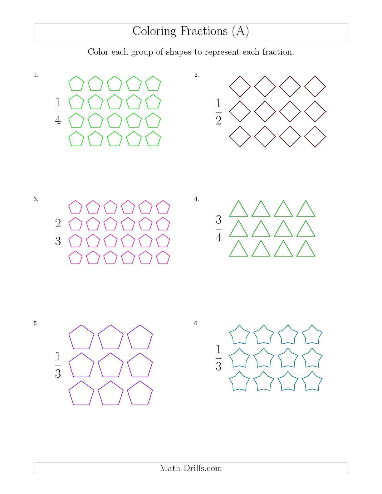 The Coloring Groups of Shapes to Represent Fractions (A) math worksheet  from the Math Worksheet page at Math-Drills.com.   Fractions [ 1584 x 1224 Pixel ]
