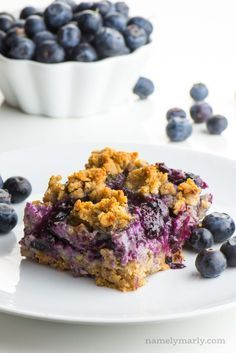 These Blueberry Crumble bars are so easy to make. Imagine fresh blueberries on a gluten-free oatmeal-infused crust and more of that crust served as a top layer crumble! This will be your favorite oatmeal bars recipe! Make these bars for breakfast or dessert! via Namely Marly Blueberry Crumble bars are so easy to make. Imagine fresh blueberries on a gluten-free oatmeal-infused crust and more of that crust served as a top layer crumble! This will be your favorite oatmeal bars recipe! Make these bars for breakfast or dessert! via Namely Marly | Vegan Recipes