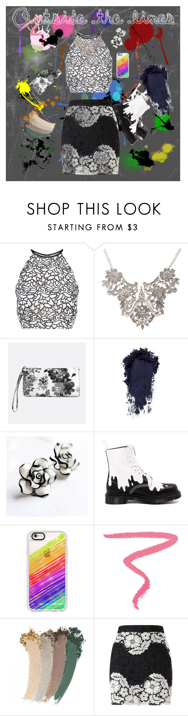 """""""Coloring Book"""" by purple-knight ❤ liked on Polyvore featuring Keepsake the Label, Avenue, Dr. Martens, Casetify, Ilia, Gucci and Miss Selfridge"""