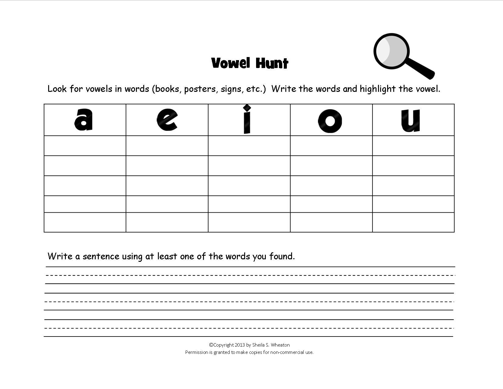Vowel Hunt Game Kids Have Fun Finding Words With Short Vowel Sounds Of A E I O U [ 1275 x 1650 Pixel ]