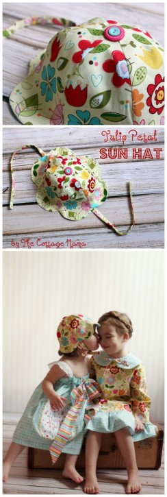 fa825fa4dd0 FREE Tulip Petal Sun Hat Pattern from The Cottage Mama.  www.thecottagemama.com