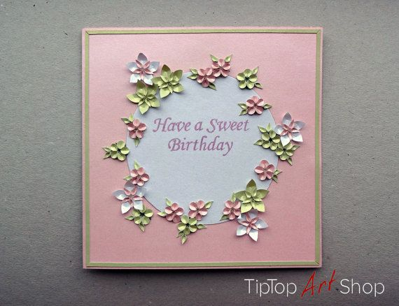 Happy Birthday Paper Handmade Greeting Card With 3d Flowers By