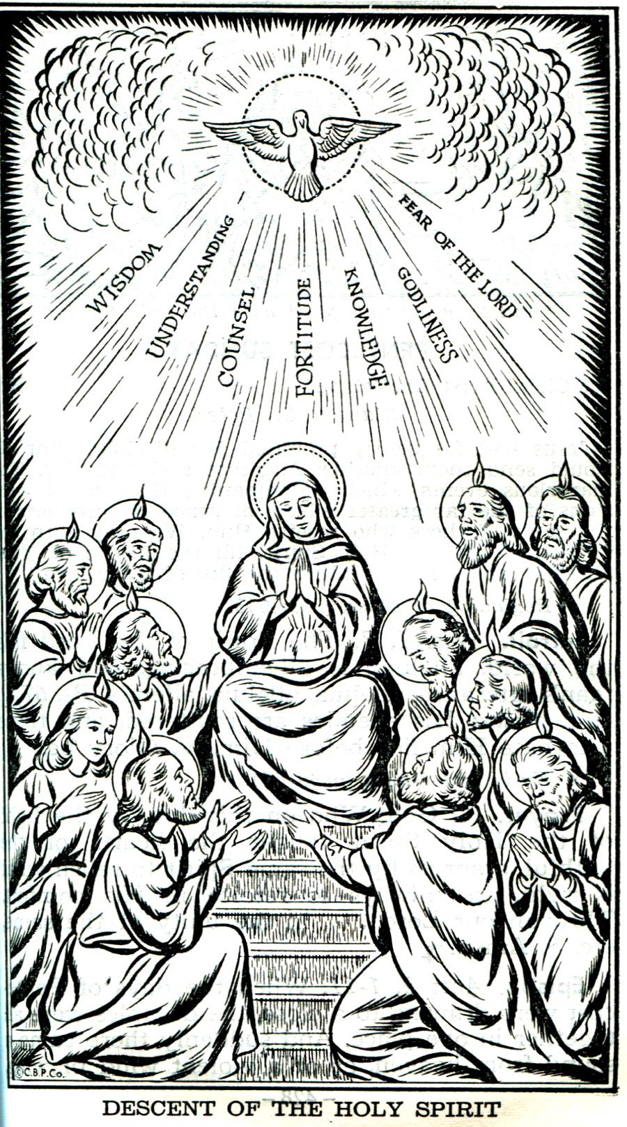 Descent of the holy spirit for pentecost sunday catholic for Pentecost coloring pages