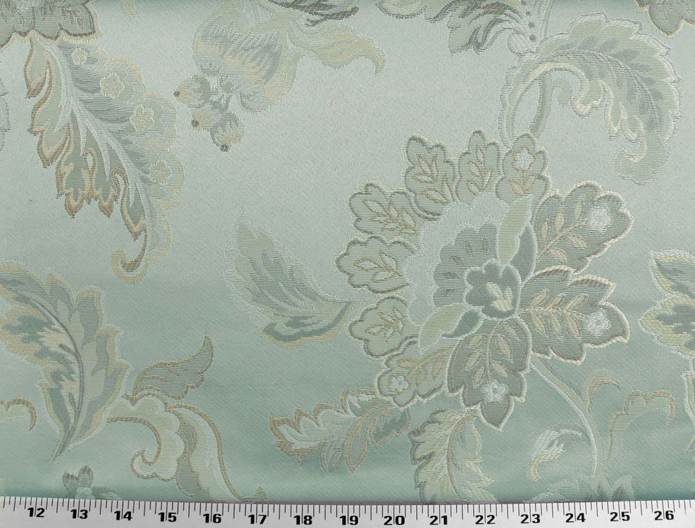Drapery Upholstery Fabric Jacquard Floral - Ivory, Gold, Beige, Tan on Icy-Blue
