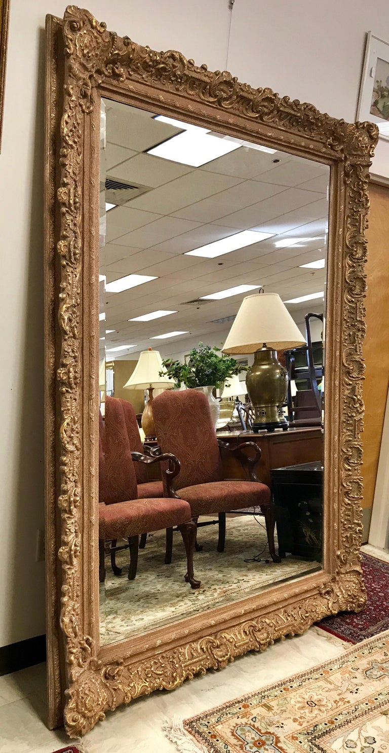 Large Ornate Carved Gilt Gold Baroque Full Length Mirror Floor To Ceiling For Sale At 1stdibs 2495 H 84 In X W 62