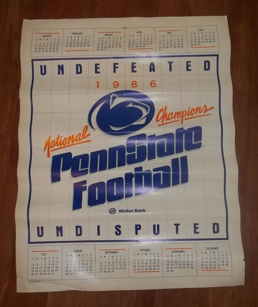 Rare 1986 Penn State Football Calendar Poster Undefeated