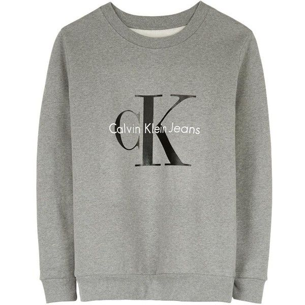 f2a7a6b4fe35 Calvin Klein Jeans Logo Sweatshirt ( 140) ❤ liked on Polyvore featuring  tops