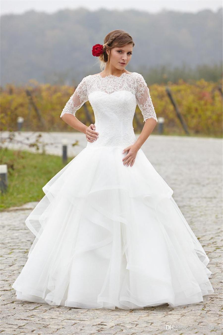Lace organza backless half sleeve floor length romantic