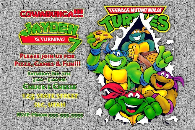 picture relating to Ninja Turtles Birthday Invitations Printable named Teenage Mutant Ninja Turtles Birthday Invites for