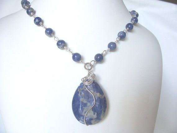 blue necklace denim blue sodalite necklace gemstone by sydemcgus, $18.00