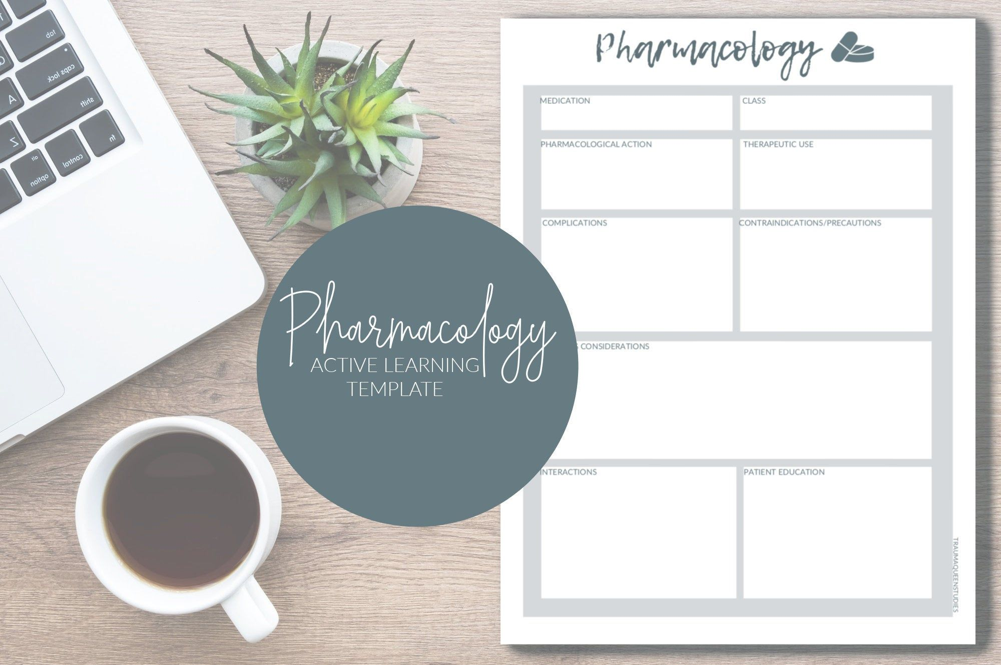 Pharmacology Printable Learning Template