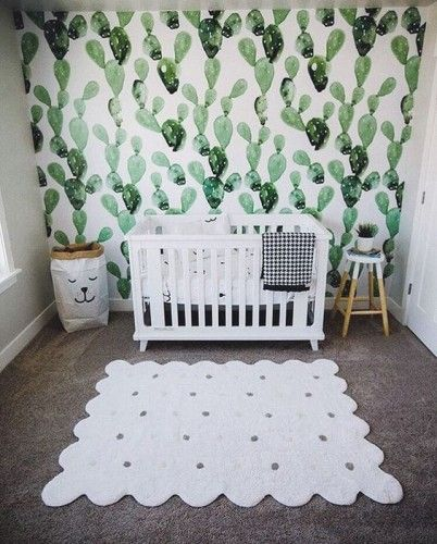 Child Mural Nyc Hand Painted Craft Plants Succulents Cacti Cactus Stencil Pattern Wallpaper Baby Crib Decor Bedroom 347 223 7533