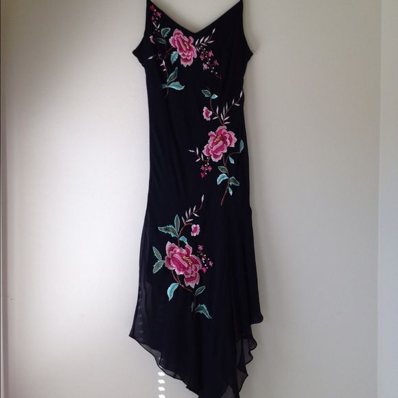 Sue Wong Silk Dress Black Fl Size 14 100 Embroidered Tail With