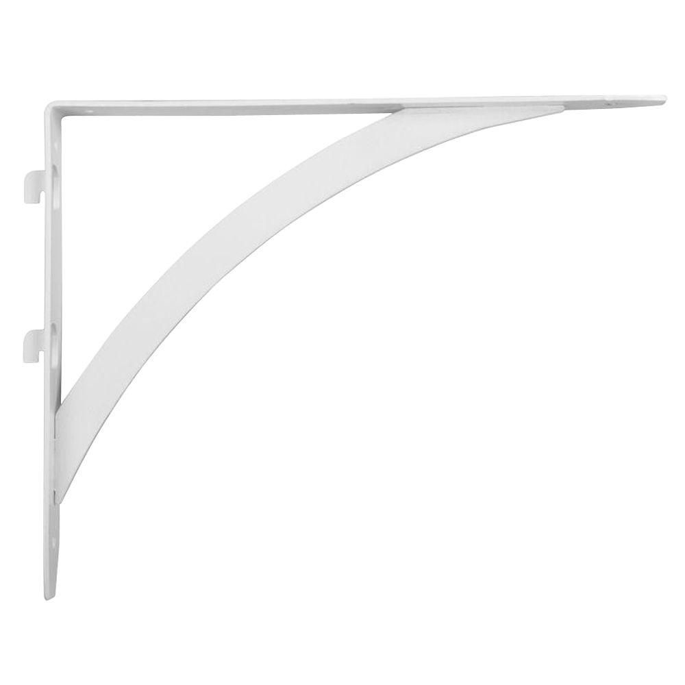 Everbilt 10 25 In X 7 7 In White Dual Track Elegant Shelf Bracket Eb 0053dt 10wt The Home Depot Shelf Brackets Shelves Shelf Brackets Design