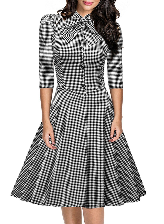 Amazon.com  Miusol Women s Official Bow Neck Plaid Slim Half Sleeve Vintage  Dress  Clothing 79a6cdae3