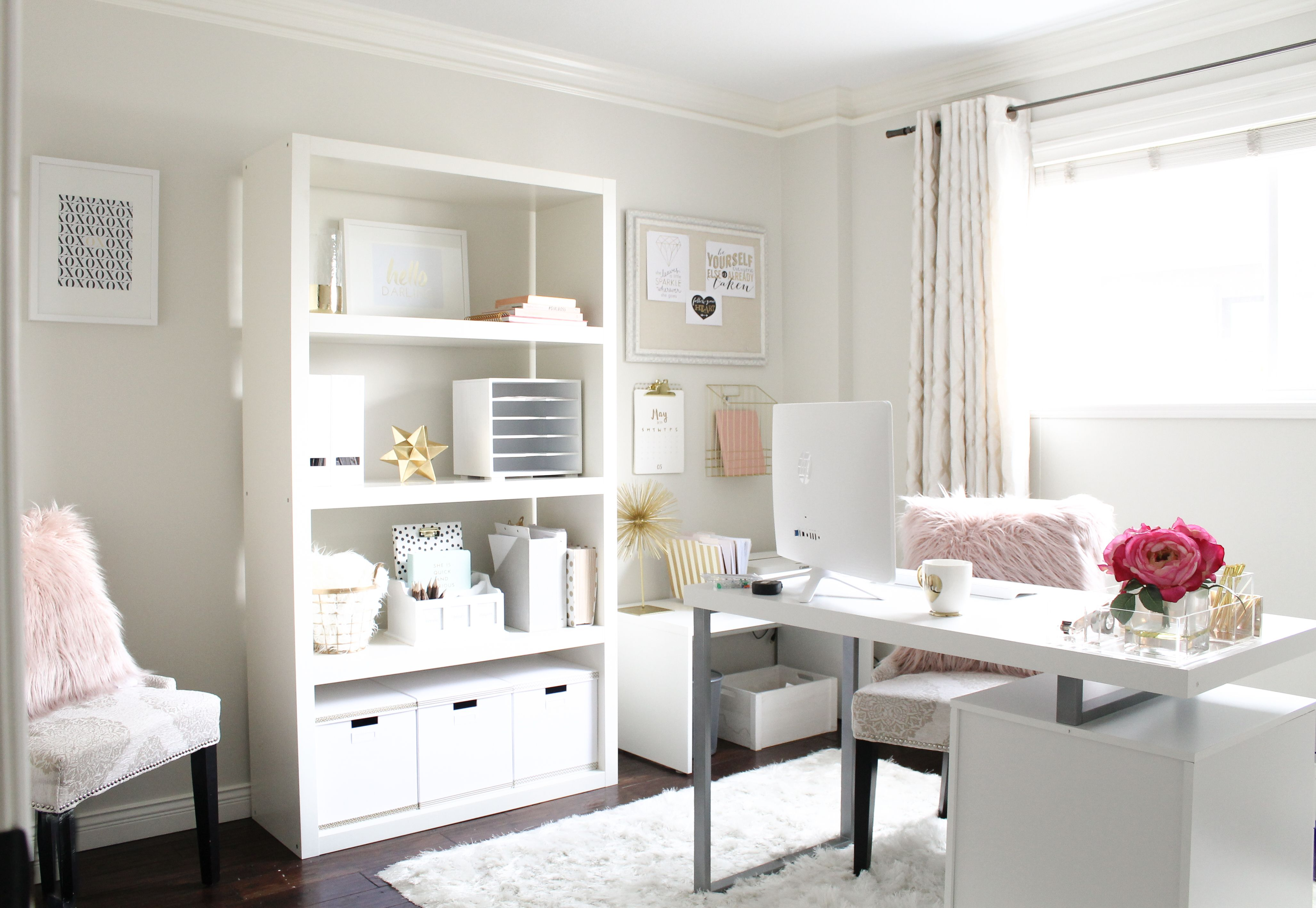 stylish home office space. Pretty Home Office, Stylish Feminine Office Design, Space