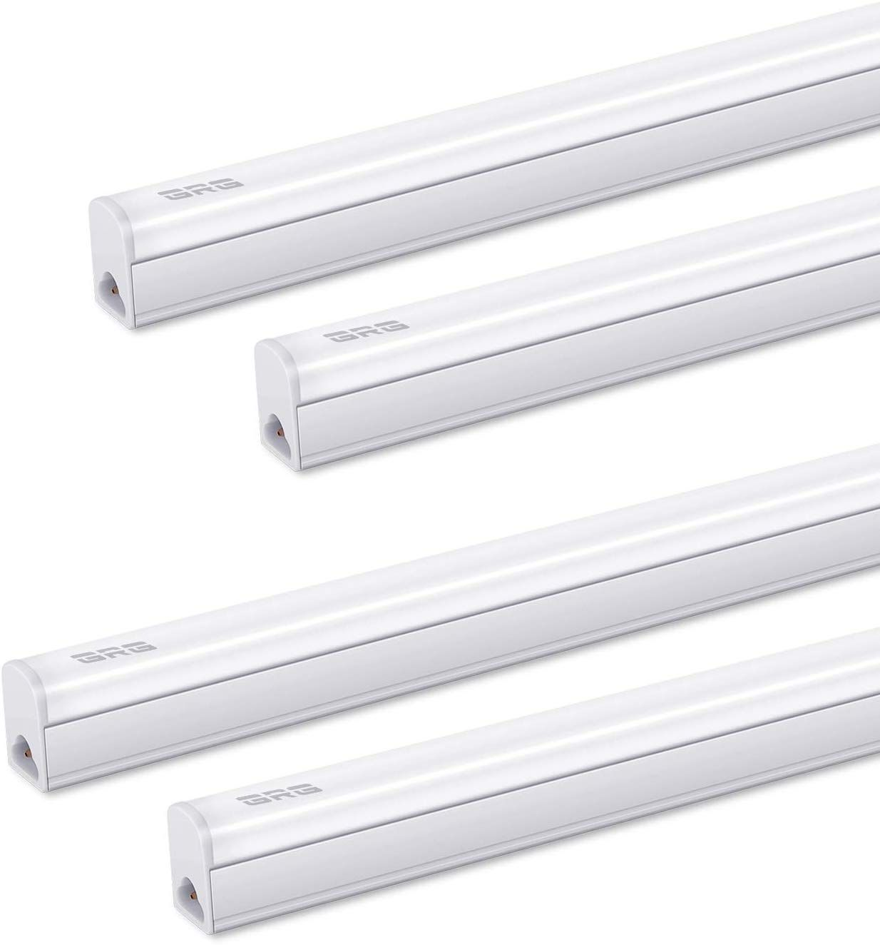 Pack Of 4 Grg Led T5 Integrated Single Fixture 3ft 15w 1650lm 6500k Linkable Utility Shop Light Garage Light Led Ceiling Under Cabinet Light T5 T8 Fluoresc Fluorescent Tube Light Garage