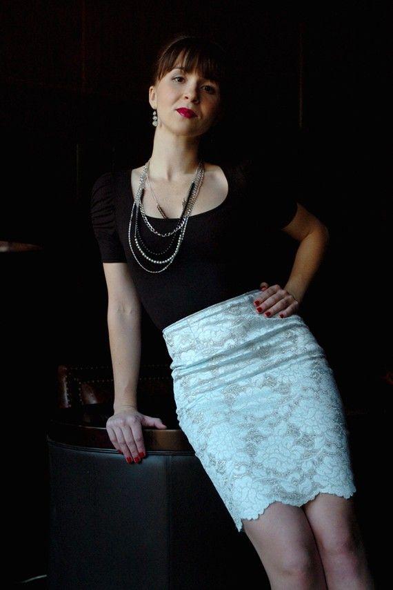 Blue Lace Skirt SALE HALF OFF by RocketBetty on Etsy
