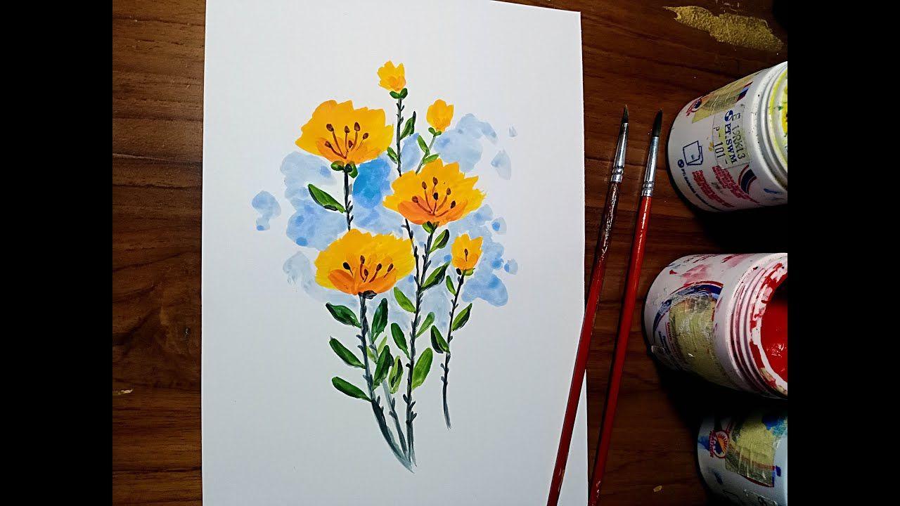 Lukisan Bunga Dengan Teknik Sederhana Simpel Mudah Dan Menarik Lukisan Bunga Lukisan Bunga