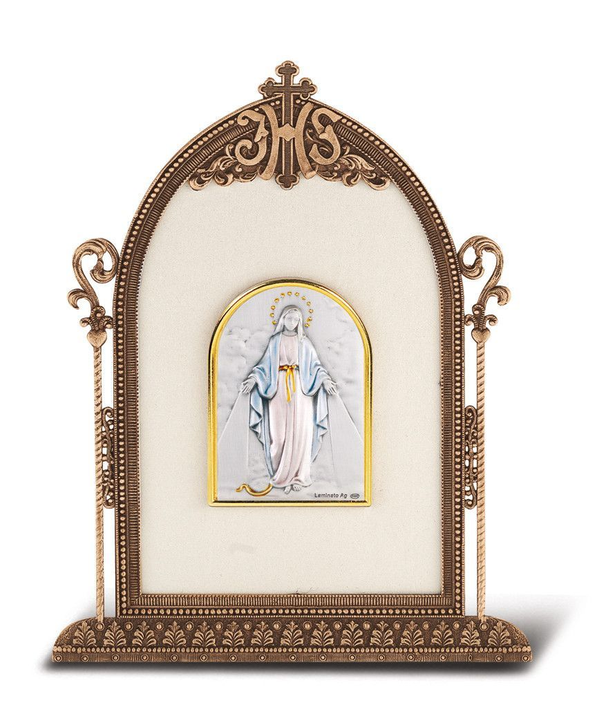 Antique Bronze Gold Plated Metal Frame with Sterling Silver Madonna and Child Image