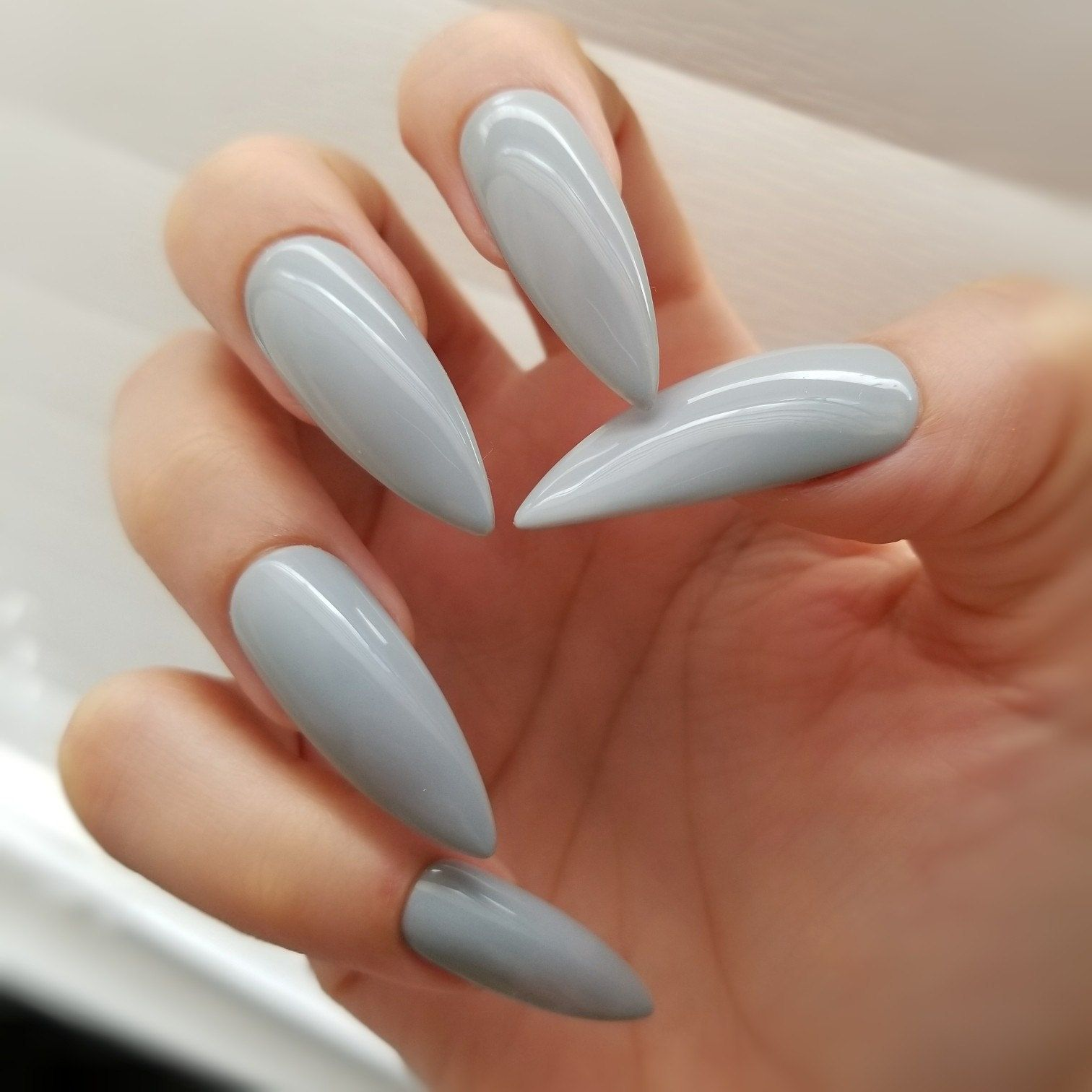 Special set - LightGray - Stiletto Long / Press on Nail / Nail art ...