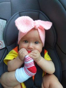 Pink Rose Bow Knit Headband (Garter Stitch) · Crazy Hands Knitting