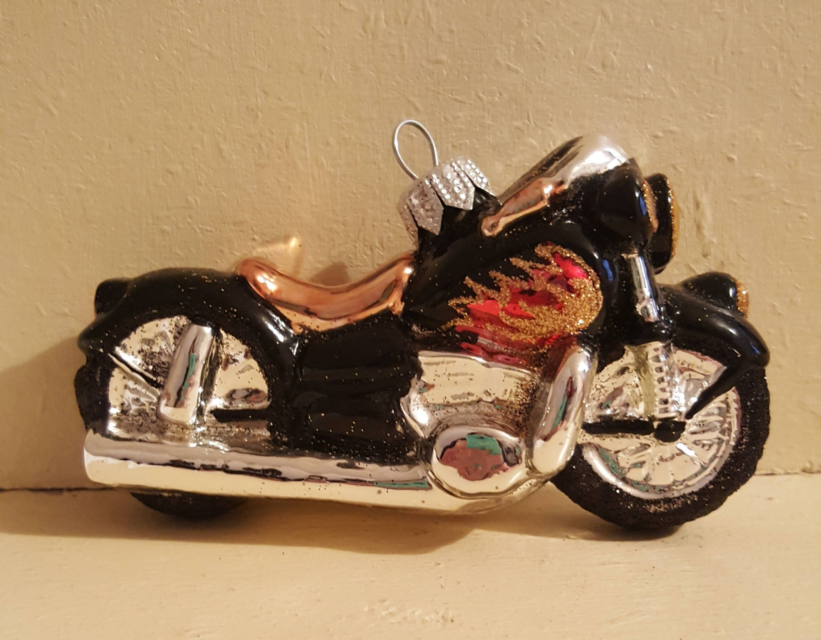 Blown Glass Black Chopper Motorbike Christmas Ornament 5 Made In Poland Glass Blowing Christmas Ornaments Vintage Christmas