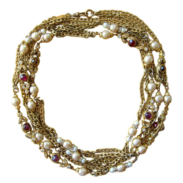 """Chanel Gripoix cabachon and pearl station necklace 68"""""""