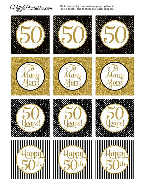 50th Anniversary Cupcake Toppers