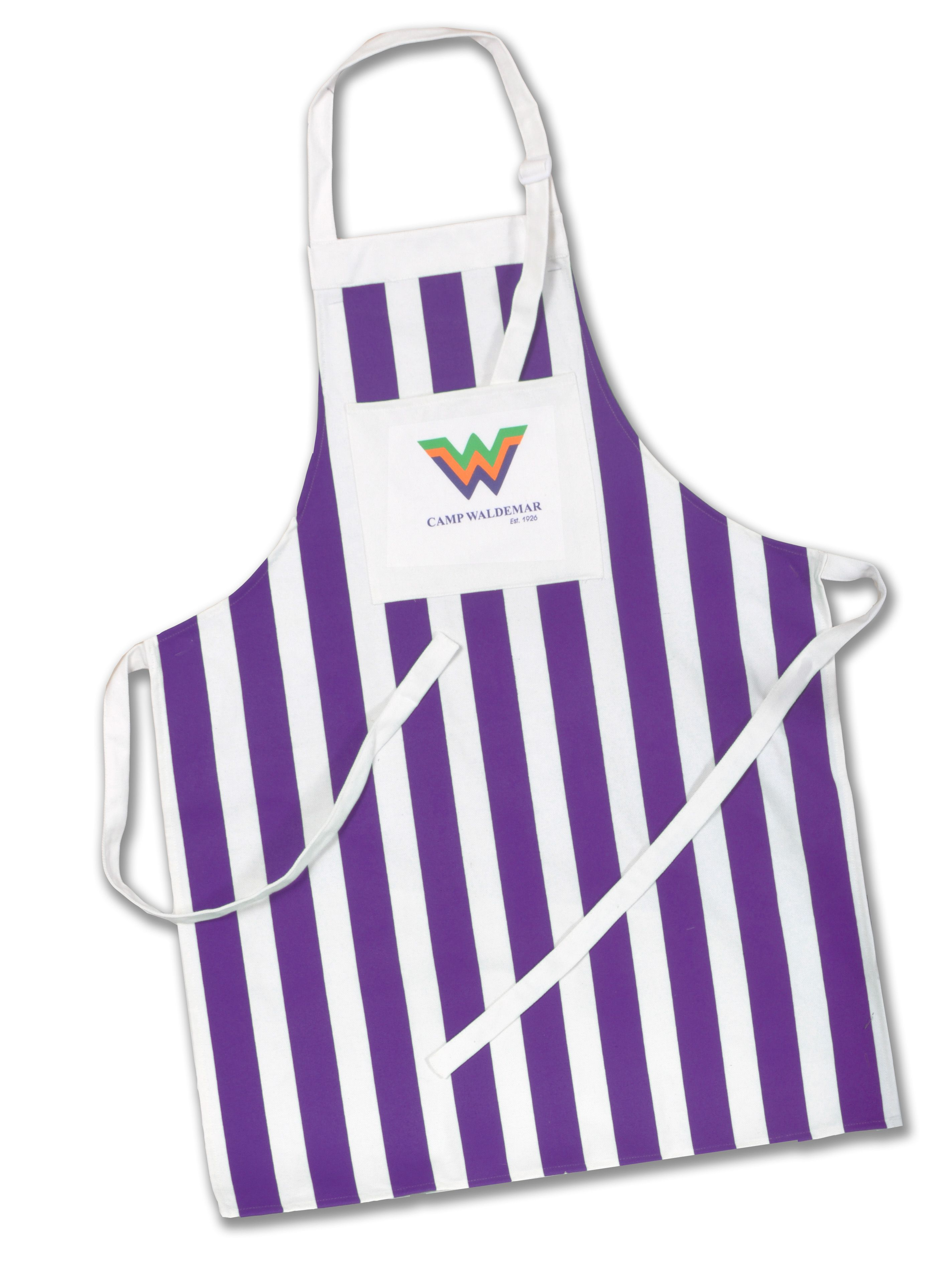 d6ba72e495203 Camp Waldemar Striped Apron in Tejas Purple! Order online from Camp  Waldemar s Camp Store. If you are interested in this as a custom item for  your camp