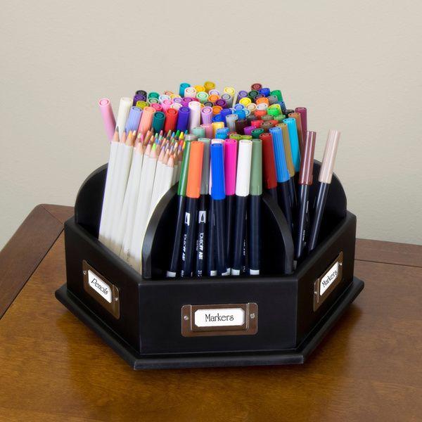 wood desktop organizer craft storage caddy desk pens pencils markers lazy susan