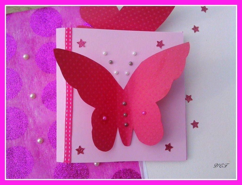carte de f licitations fille papillon fait main pour bapt me ou naissance carte de. Black Bedroom Furniture Sets. Home Design Ideas