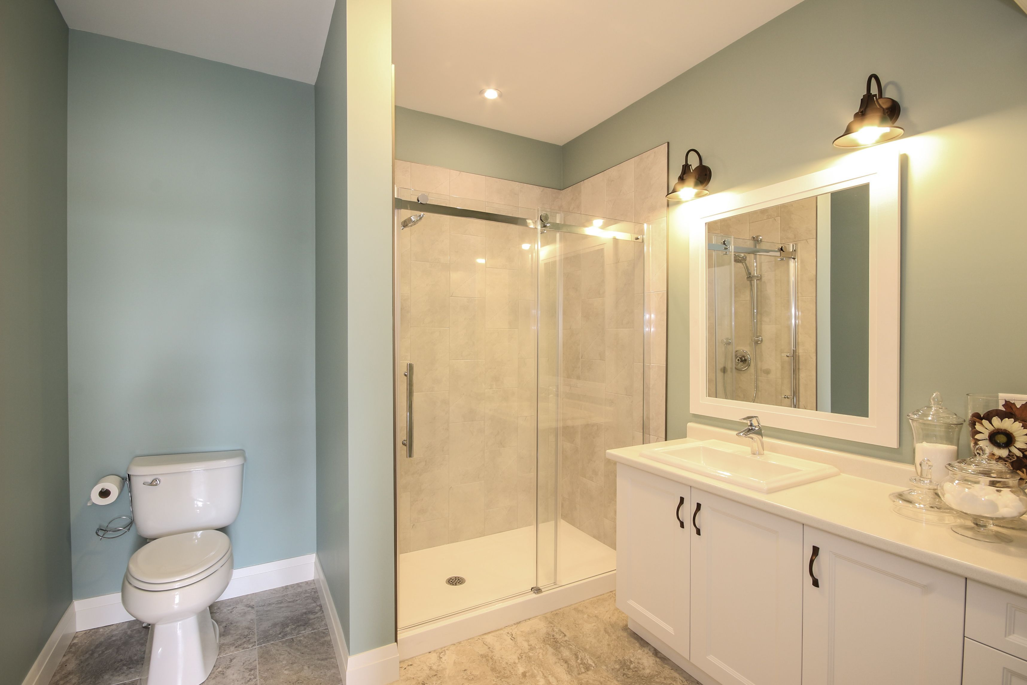 This bathroom features Benjamin Moore Wythe Blue paint, a custom ...