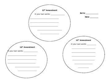 Reconstruction Amendments Worksheet | Civil War | Worksheets ...