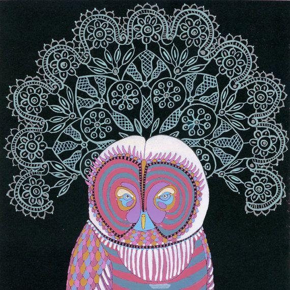 illustrations a owl with lace art by jenniferdavis