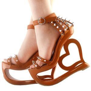 women high heel strappy heart heel wedge evening sandals