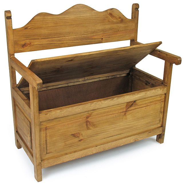 Attractive Rustic Pine Storage Bench   Mexican Furniture