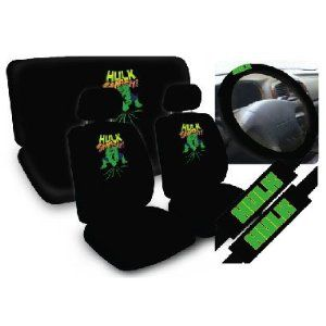 11pc The Incredible Hulk Marvel Comics Superhero Low Back Seat Covers With Head Rest Bench Cover And Steering Wheel Shoulder Pads
