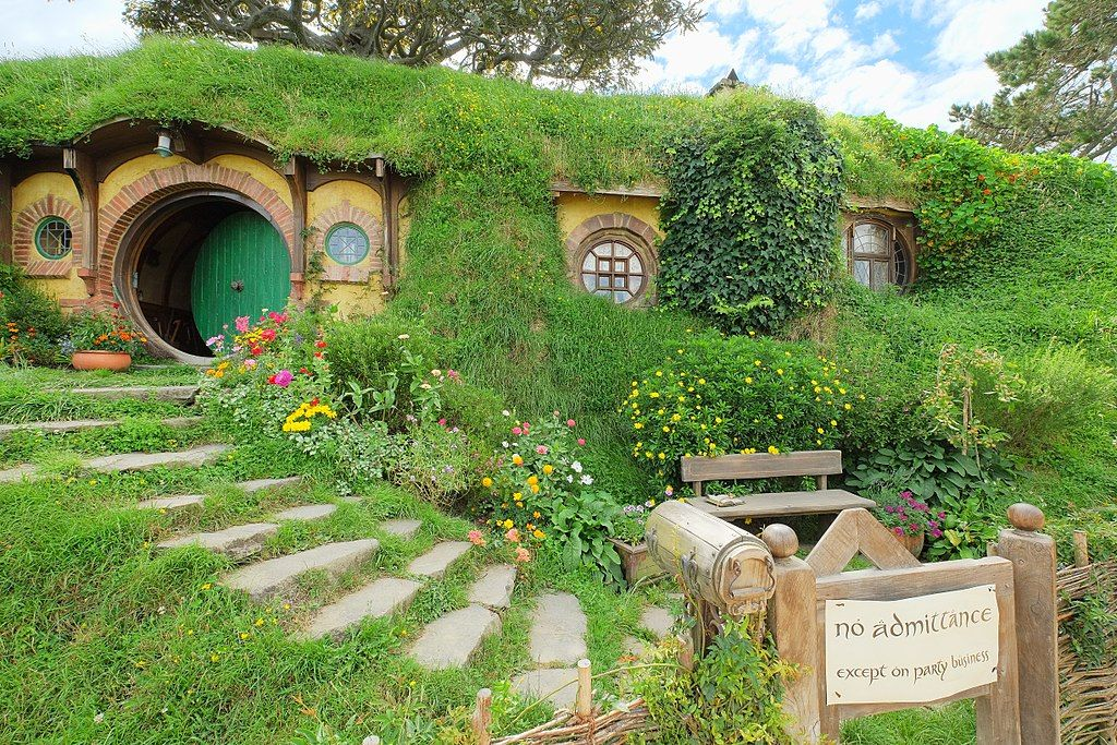 Baggins Residence Bag End With Party Sign Hobbiton Movie Set